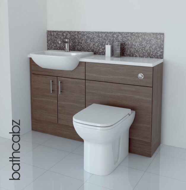 GREY BROWN BATHROOM FITTED FURNITURE 1300MM