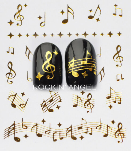 Gold Musical Notes Nail Art Water Transfers Decals Stickers - BUY 2 GET 2 FREE