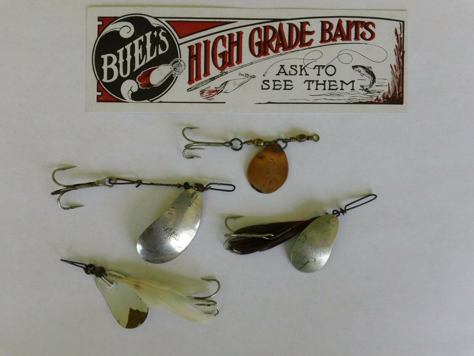 RARE VINTAGE J. T. BUEL SPINNER LURES4 LURESbiancaHtutti, N. Y.VERY GOOD CONDI.