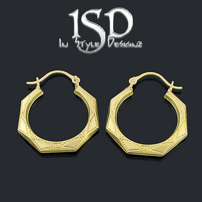 10k Yellow Gold Women's Small Fancy Octagon Etched Hoop Earrings Light Weight