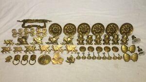 Vintage Set Of Brass Drawer Pulls Cabinet Knobs Hardware Different Sets Sizes