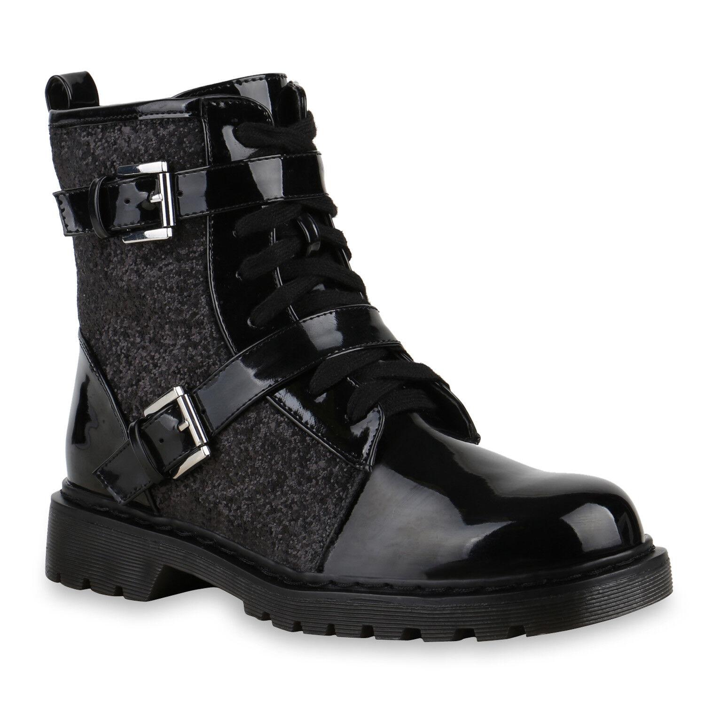 Derbe Damen Worker Boots Schnallen Stiefeletten Lack Profilsohle 814060 Schuhe