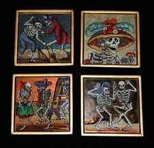 Set of 4 Day of the Dead Coasters Skeletons Hand Painted on Glass Peru Folk Art
