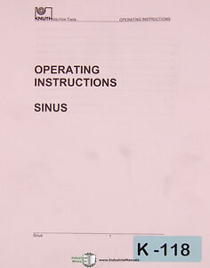 details about knuth sinus and sinus b, lathe operations and parts manual