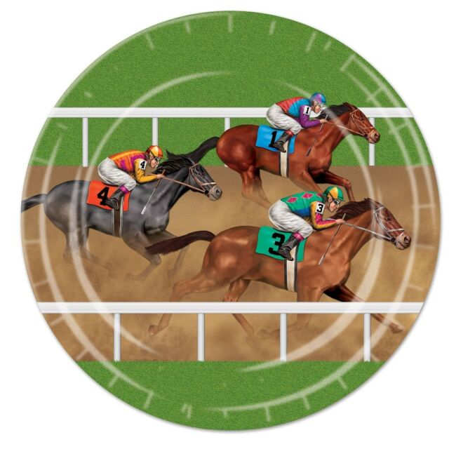 HORSE RACING BIRTHDAY PARTY SUPPLIES MELBOURNE CUP 8 LARGE DINNER PAPER PLATES