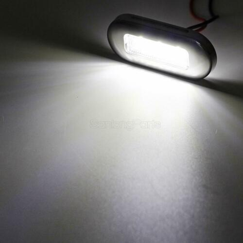 "10x 3/"" Clear//White LED Oblong Courtesy Light Garden Accent Deck Lamp Polished"
