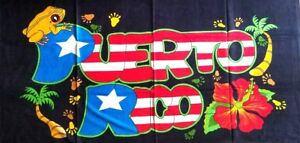 Puerto Rico Rican 30 x 60 INCHS Beach Towel (Cotton Twill) BORICUA COQUI FLOWER