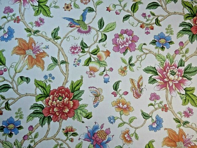 Birds /& Butterfly Garden Water Colour Pink //Mauve Designer Linen Curtain Fabric