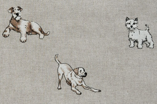 LOVABLE CHIENS TISSU-LIN Look rideau coussin /& Craft Tissu