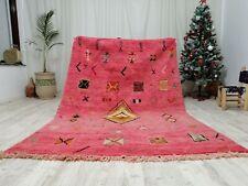 """Moroccan Handmade Boujaad wool Rug 5'5""""x8' Vintage  Wool Pink color Carpet"""