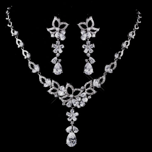 Necklace /& Earring Set #5296 Silver Clear CZ