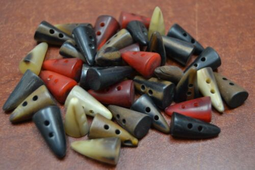"""50 PCS SMALL ASSORT BUFFALO HORN TOGGLE SEWING 2 HOLE BUTTONS 3//4/"""" #T-978"""