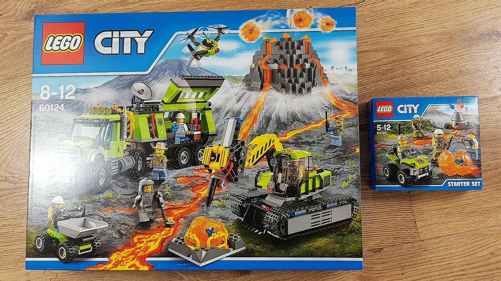 LEGO City 60124 Volcano Exploration Base & 60120 Volcano Stkonster SetNy