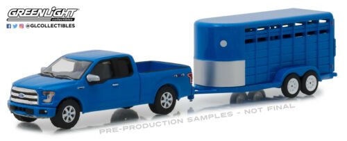 1:64 Greenlight Blue 2016 Ford F-150 avec animal bétail remorque Hitch /& Tow 14