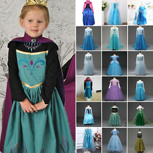 Frozen Eiskönigin Elsa Anna Kostüm Prinzessin Kleid Kinder Mädchen Partykleid DE