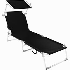 Alu chaise longue de jardin pliante transat bain de soleil + pare soleil noir