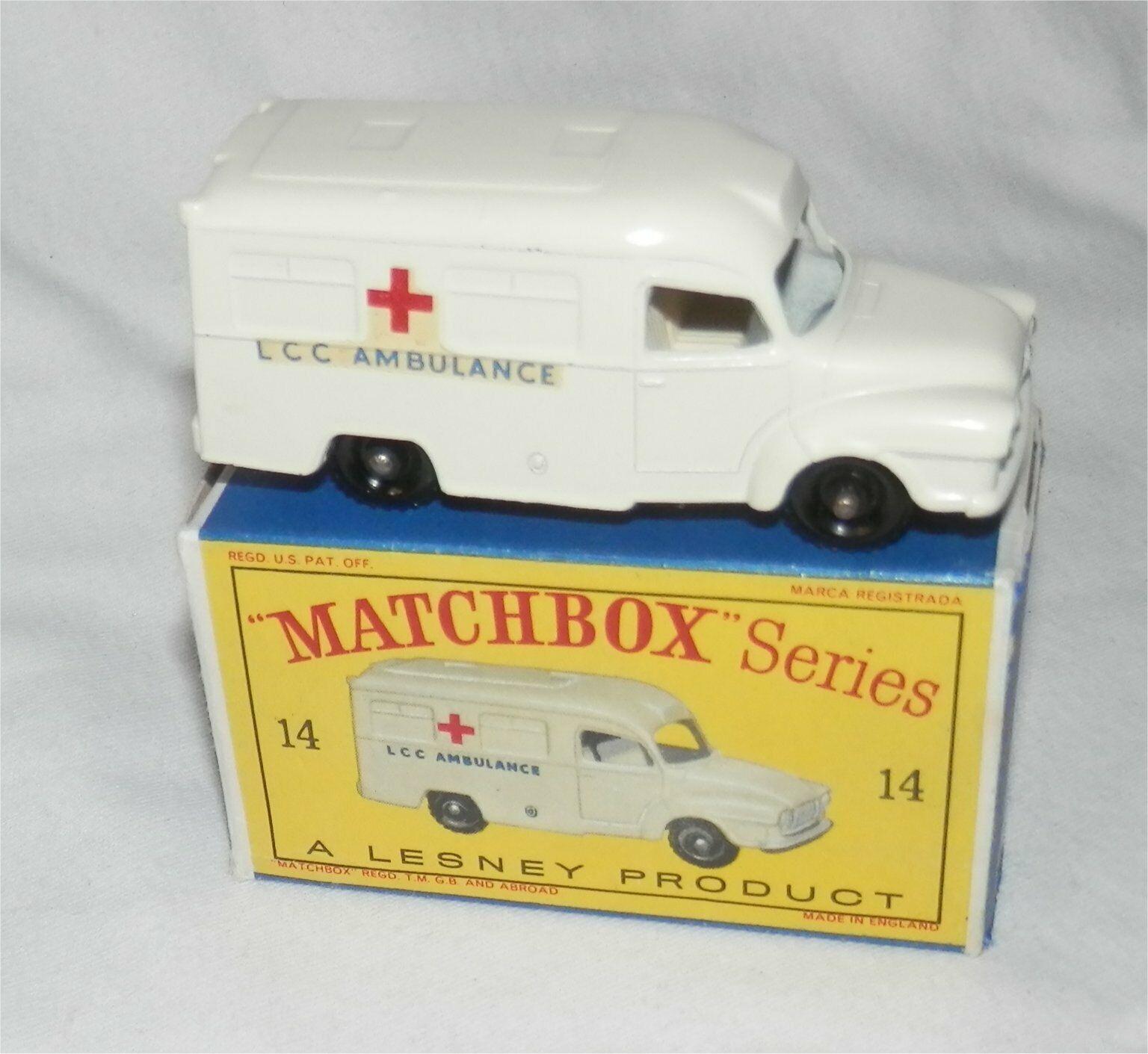 1960s Lesney Matchbox 14 Lomas Ambulance.BPW.Mint in box.ALL Original
