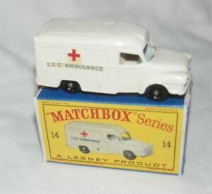 HonnêTeté 1960 S Lesney Matchbox 14 Lomas Ambulance. Bpw. Comme Neuf In Box. All Original-mint In Box.all Original Fr-fr Afficher Le Titre D'origine