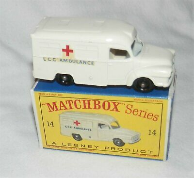 1960s Lesney Matchbox 14 Lomas Ambulanza. Bpw. Nuovo Di Zecca Con Scatola. Tutti Originali-mint In Box.all Original It-it Mostra Il Titolo Originale