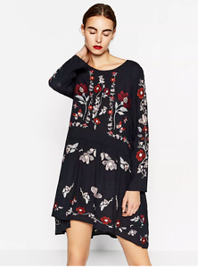 New-Ladies-Black-Long-Sleeve-dress-Floral-Embroidered-Button-Blouse-Top
