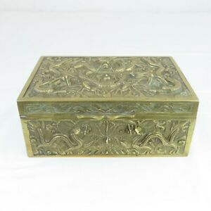 "12""Old China antique brass Dragon Box"