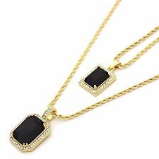 "14k Gold Plated Iced Mini Blk Stone CZ Pendant Set w/ 2mm 24"" & 30' Rope Chains"