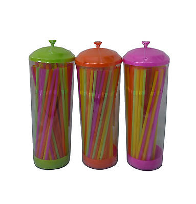 Plastic Party Picnic Straw Holder Case with 100 Coloured Straws Choice of Colour