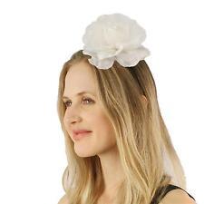 Pretty Flower Girl Bridal Floral Satin Headband Fascinator Cocktail Hat White