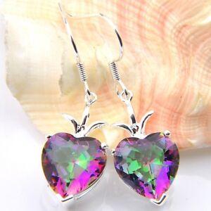 Unique-Gift-Love-Heart-Rainbow-Mystic-Topaz-Gemstone-Silver-Dangle-Hook-Earrings