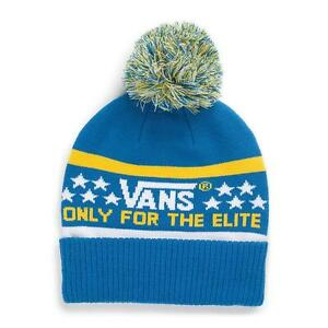 a9df4b6b2b3 Vans Off The Wall Elite Pom Cuff Beanie Royal Blue and Yellow Mens ...