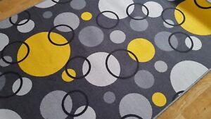Details Zu Kinder Teppich Spiel Teen Kreise Grau Gelb Spielteppich Verschiedene Abmessungen