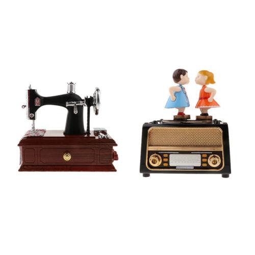 Romantische Paar Retro Radio Model /& Nähmaschine mechanische Spieluhr für