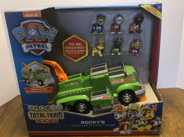 PAW Patrol Rocky's Team Recycling Truck 6 Pups Total Team Rescuer Figures Chase