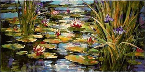 Brent Heighton  Water Iris Keilrahmen-Bild Leinwand Wasserlilie Blaumen Teich