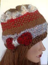 Hand Knit Hat Beanie Designer  Fashion Bow Hip Red Silver Cognac Cream