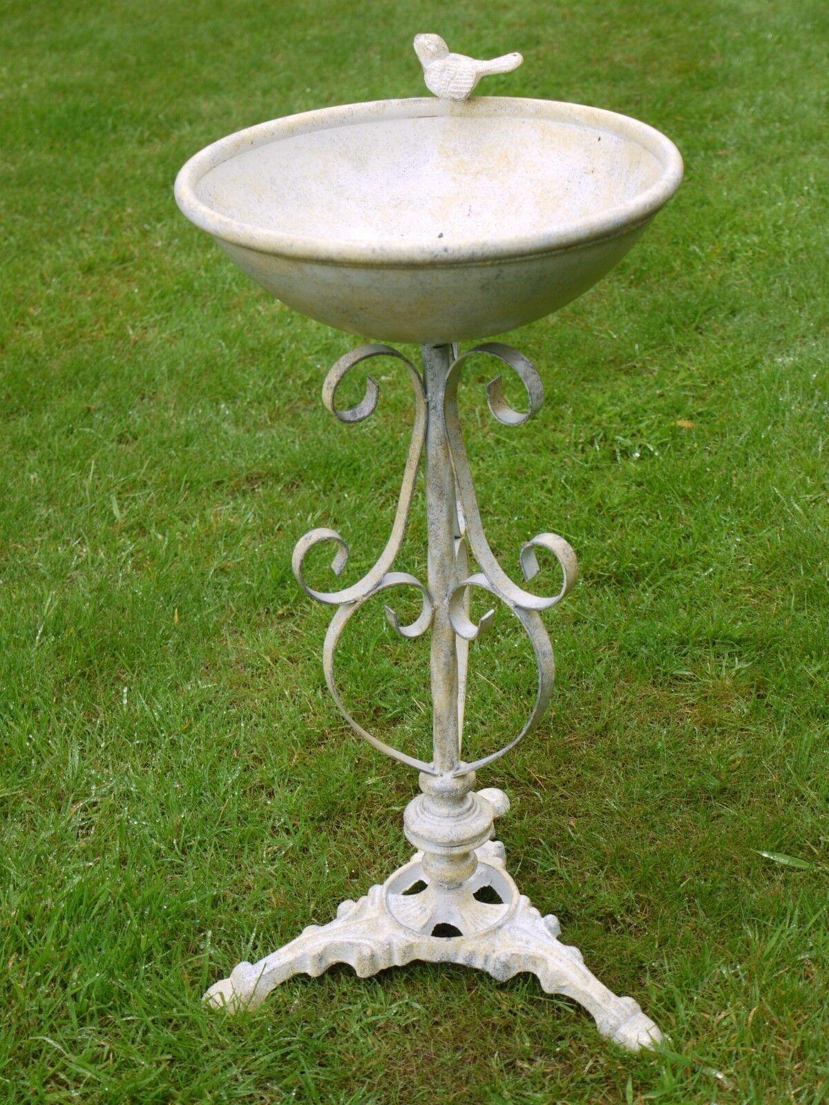 Baño Del Pájaro Vintage de Estilo blancoo Crema de Baño Del Pájaro Metal reCochegado Pileta