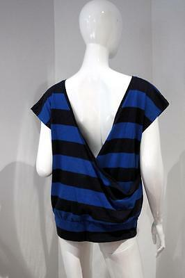 FRENCH CONNECTION Striped LOW BACK Crossover NAVY Blue TOP Shirt COTTON M
