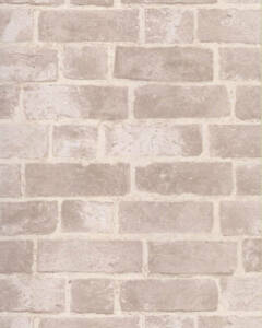 Image Is Loading Brick Wallpaper Aged Off White With Texture
