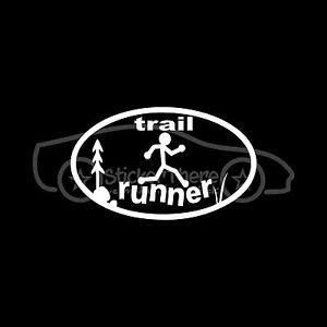 TRAIL-RUNNER-Sticker-Oval-Decal-Hike-Jump-Climb-Woods-Forest-Run-Rock-Walk-Fit