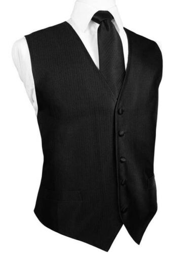 Black Silk Faille Tuxedo Vest with Matching Long Tie and Bow Tie