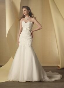NWT-Size-18-White-Organza-fit-n-flair-Alfred-Angelo-2456-bridal-gown-wedding