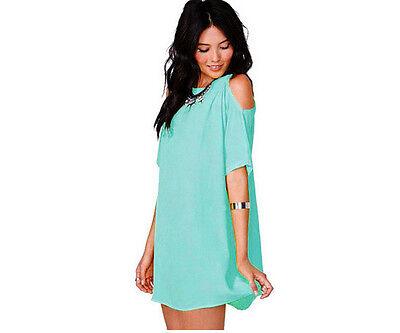 Women's Ladies Summer Party Chiffon Solid Tops Dress Clothes Plus Size Blouse