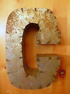 """14/"""" INDUSTRIAL RECYCLED SCRAP METAL BLOCK LETTER K rustic vintage marquee cabin"""