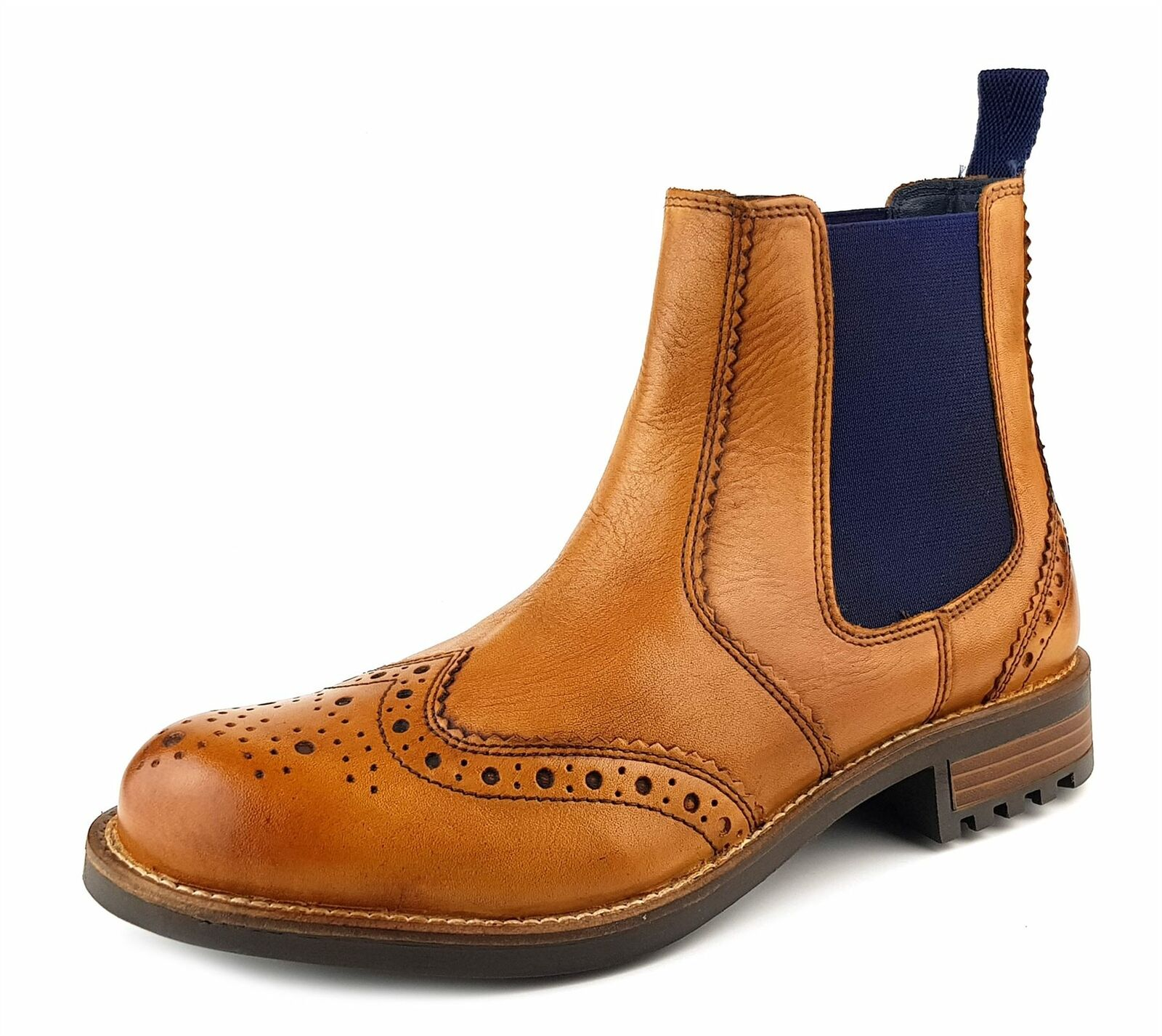Frank James Fulham Real Leather Pull On Cheslea Dealer Brogue Mens Boots Tan