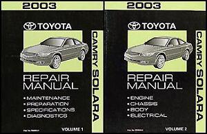2003 toyota camry solara repair manual original set se sle shop rh ebay ie 1999 toyota solara owners manual toyota solara repair manual pdf