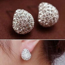 1 Pair Elegant Womens Shiny Crystal Rhinestone Ear Stud Earrings Fashion Jewelry