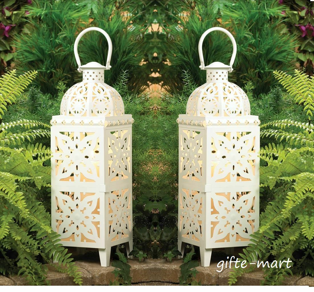 10 WHITE Mgoldccan XL 25  tall Candle holder Lantern floor wedding decoration