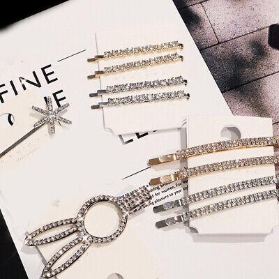 1Pair Women/'s Fashion Rhinestone Hair Clip Pin Crystal Hairpin Slide Barrettes.