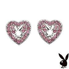 Playboy Earrings Ear Stud Silver Heart Bunny Pink Crystal Platinum Mardi Gras A1