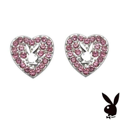 Playboy Earrings Heart Bunny Studs Pink Swarovski Crystals Platinum Plated Box